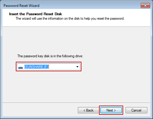 choose windows 7 password reset disk on wizard