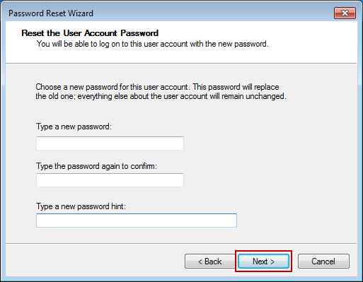 follow wizard to remove windows 7 login password