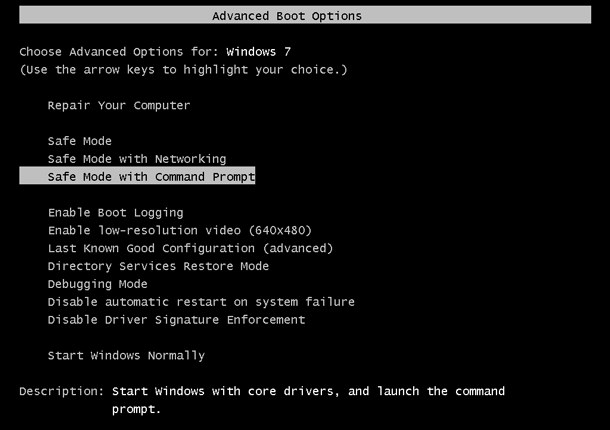 start windows 7 in safe mode with command prompt