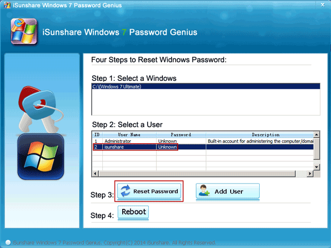 change windows 7 password with bootable disk