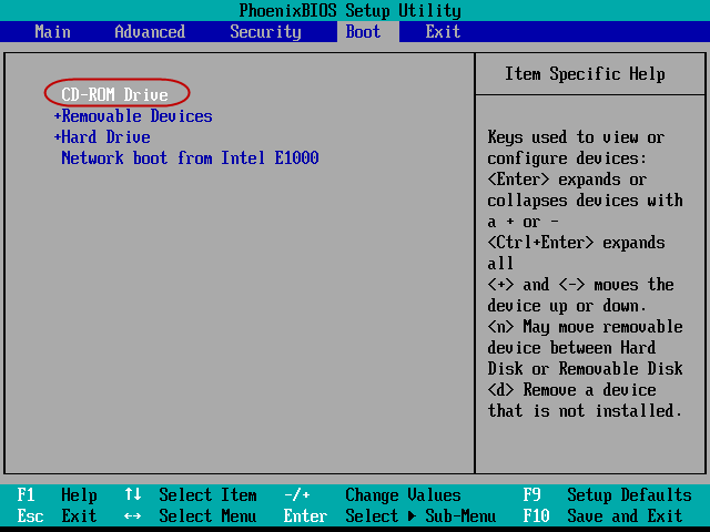 set computer boot from cd