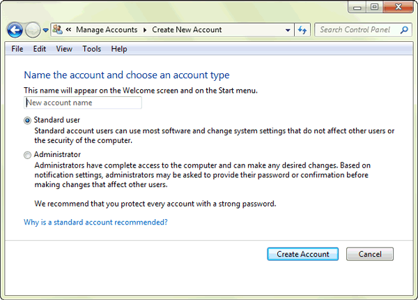 create windows 7 user account and password