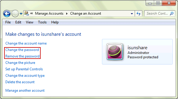 recover windows 7 password with another administrator