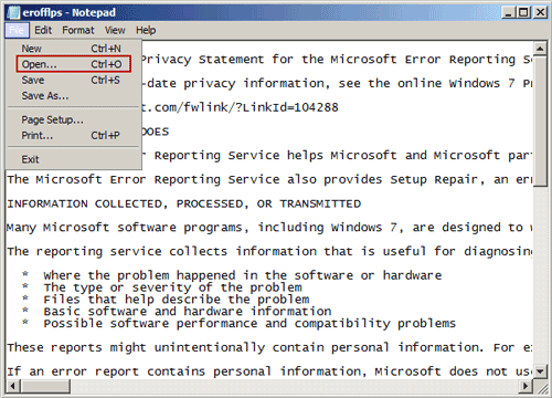 open file open dialog with notepad