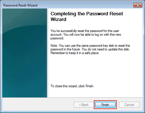 Finish Windows 7 Admin Password Reset Wizard