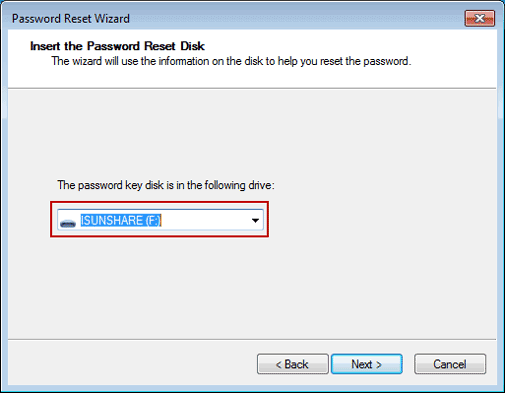 insert reset disk to reset windows 7 administrator password