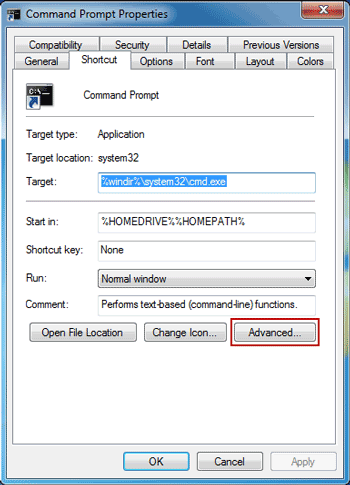 command prompt administrator shortcut windows 7