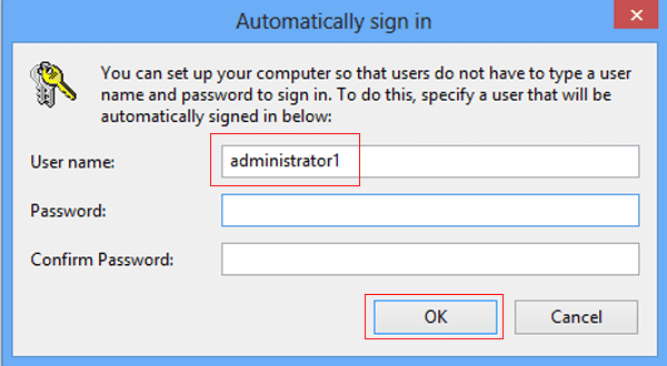 how to take off administrator password on windows 8