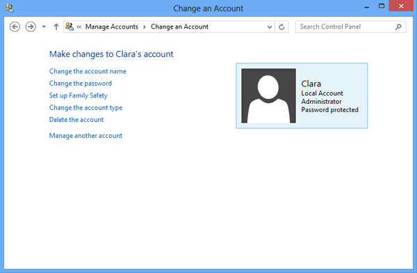 change surface 2 user account