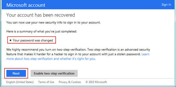 confirm windows 8 microsoft account password reset