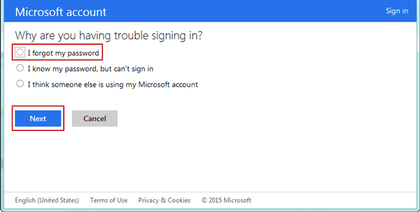 How to sign in hotmail if forgot password