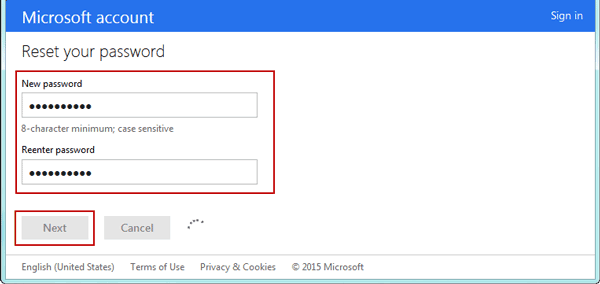 reset microsoft account password windows 8