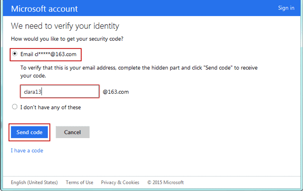 verify microsoft account to get security code