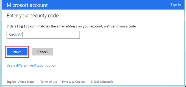verify microsoft account with security code