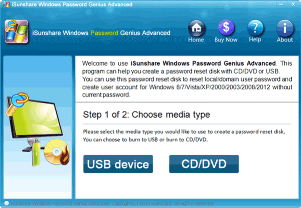choose usb drive to create windows 8.1 password reset disk