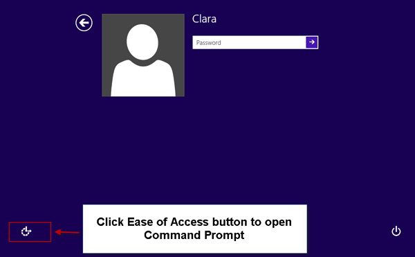 click ease of access button to open command prompt