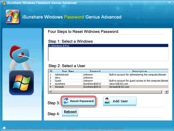 reset windows 8 UEFI password with bootable drive