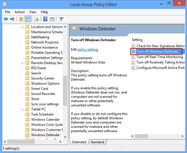 3 Ways to Disable Windows Defender on Windows 8/8 1