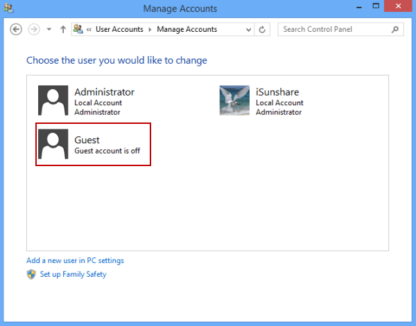 how to give guest account admin privileges windows 8