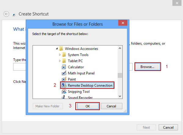 4 Ways to Create A Remote Desktop Connection Shortcut in Win 8