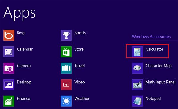 Access Calculator On Windows 8 1 Computer