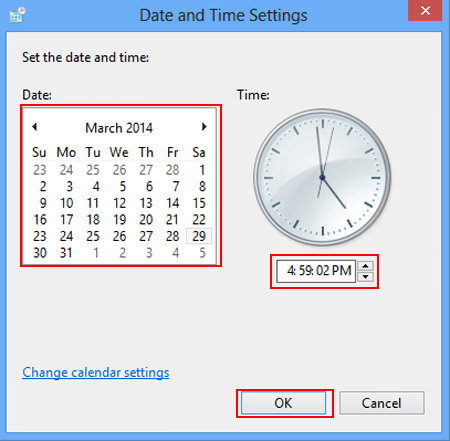 "To modify the date and time click or tap ""Change date and time"""