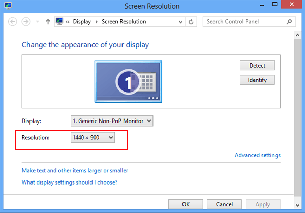 how to check screen resolution on windows 8 8 1 computerby one of the above two ways, you can open the screen resolution window and check its size instantly please look at the following photo