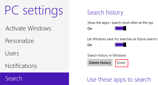 How to clear search history on windows 8 and 81 computers after a while as you can see from the picture below the process of deleting search history is done ccuart Choice Image