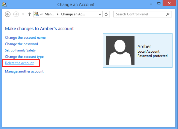 how to remove user account password in windows 8