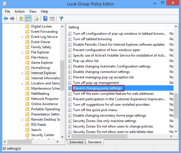 Disable Changing Proxy Settings In Windows 8 8 1