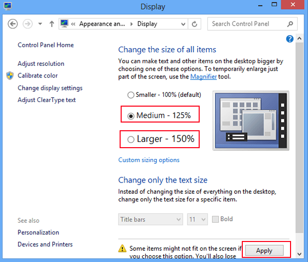 how to change icon size in windows 8