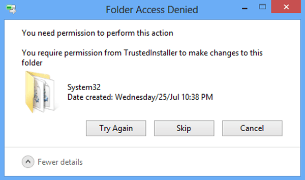 how to get administrator permission to delete file in windows 8
