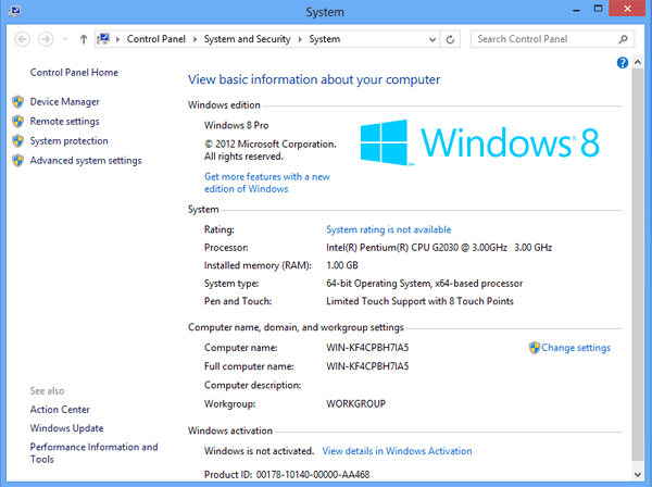 how to open system properties on windows 8 computer