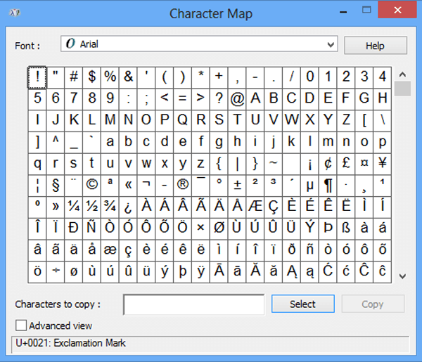 Windows Character Map How to Open Windows 8 Character Map
