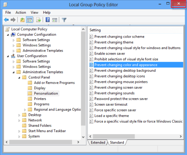 How to Prevent Changing Color and Appearance in Windows 8/8 1