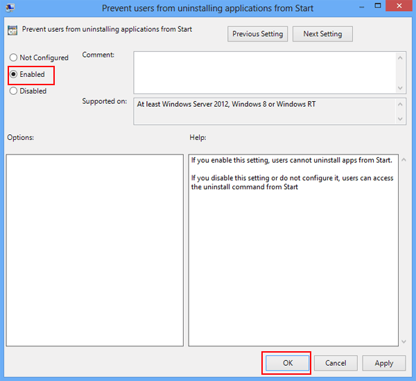 Prevent Uninstalling Applications from Start in Windows 8