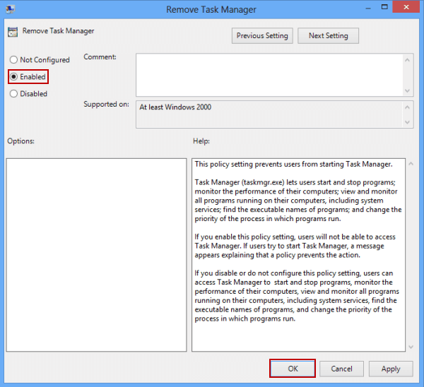 Remove Task Manager from Ctrl+Alt+Del Options in Windows 8/8.1