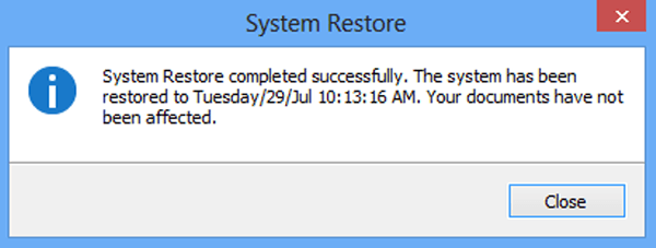 reset computer to previous date windows 8