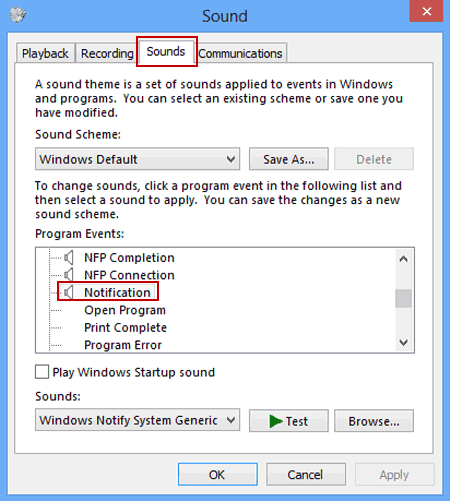 Turn Notification Sounds on or off in Windows 8/8 1