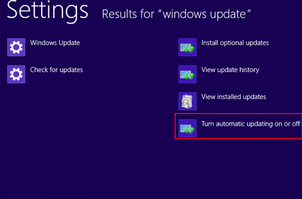 Turn off Windows Automatic Updates in Windows 8/8.1