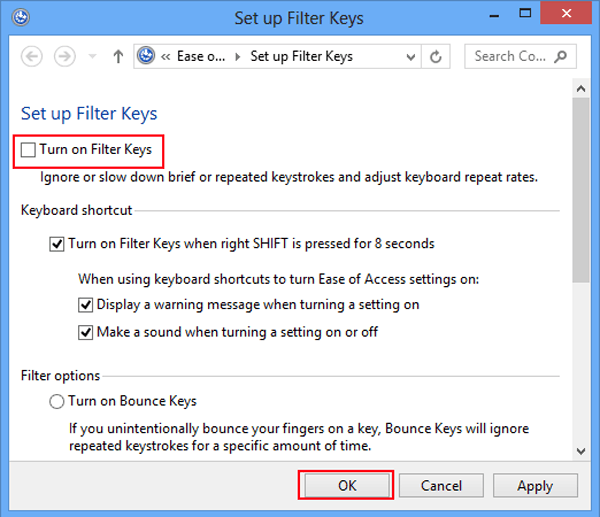 How to Turn on and Turn off Filter Keys in Windows 8
