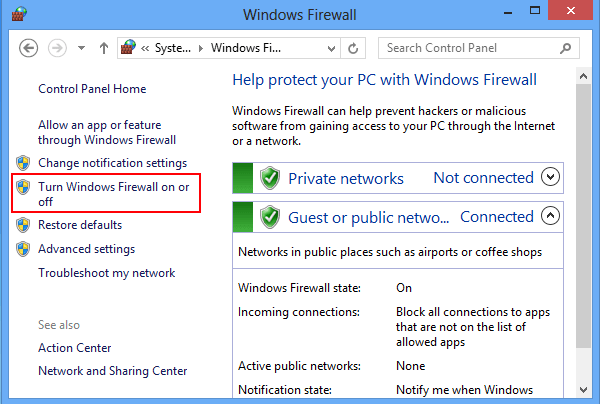 How to Turn on and Turn off Windows Firewall