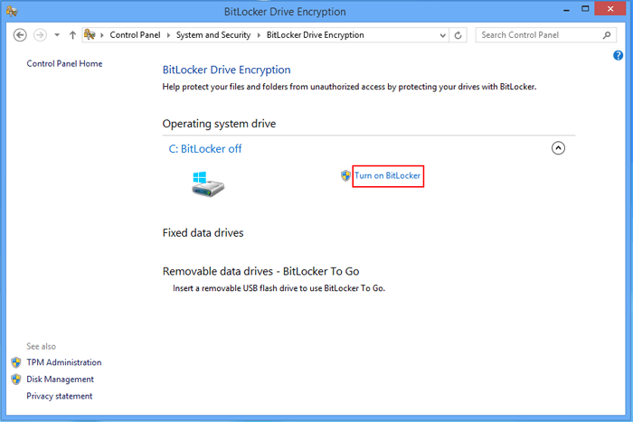 How to Turn on BitLocker on Windows 8