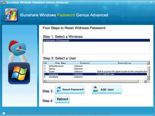 change or remove another user's password with bootable usb
