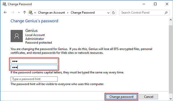 change another user's password in control panel