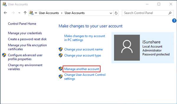 manage another account in windows 10 control panel