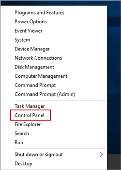 open control panel in windows 10 and 8