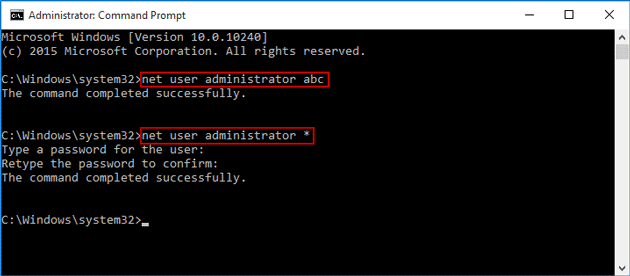 change or remove forgotten built-in administrator password with command