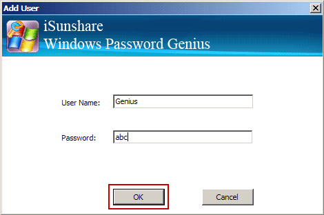 create new admin account with isunshare program
