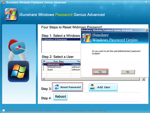 remove administrator account password directly with isunshare program